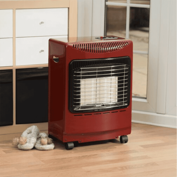 Red Mini Heatforce Cabinet Heater in situ